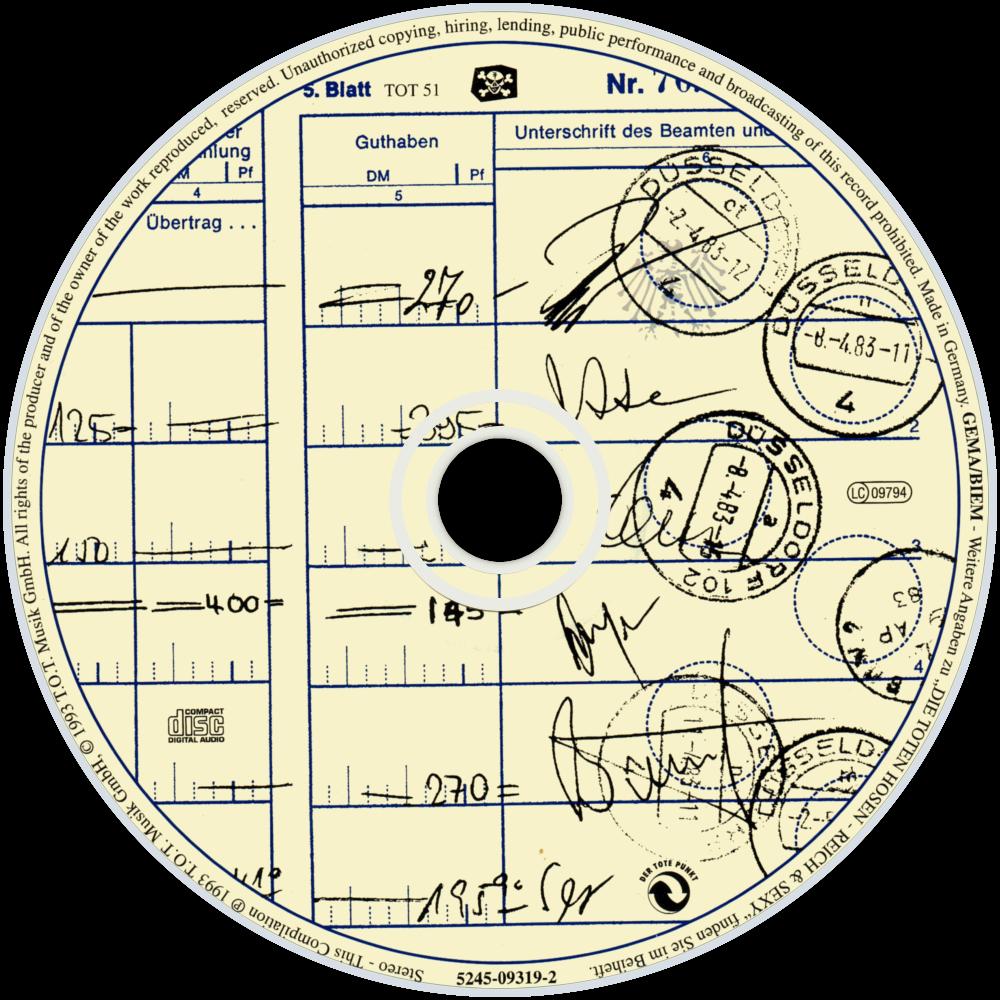 Die Toten Hosen Reich & Sexy cd disc image.